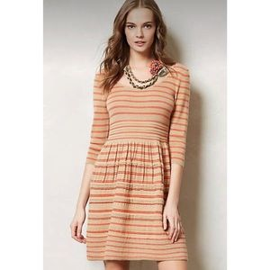 Anthro Knitted Knotted Tan Elodie Sweater Dress M